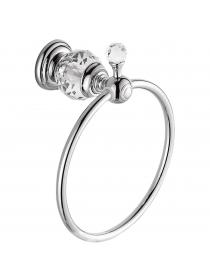 Kabter Crystal Series Brass Bathroom Hand Towel Ring Holder, Polished Chrome